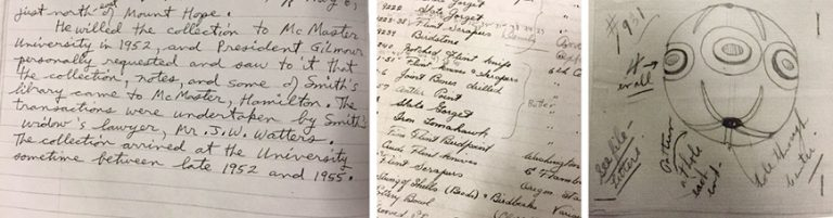Examples of notes about private collections that are now part of the McMaster legacy collection.